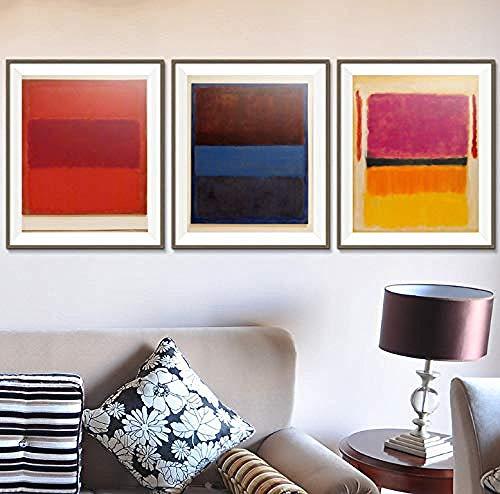 XQWZM Wandkunst Bild Poster, Mark Rothko Abstrakte Leinwand Ölgemälde Drucke, Für Wohnzimmer Wohnkultur Kunst Zeichnung 40 * 50 cm / 3 Stücke