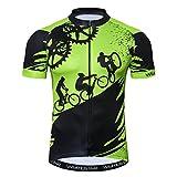 Weimostar Maillot de ciclismo para hombre de manga corta para bicicleta de montaña con cremallera, transpirable, para verano, talla L, color verde