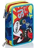 Astuccio 3 Scomparti SJ Gang, Facce da SJ, Blu, Completo di penne, matite colorate, pennarelli…