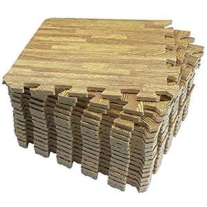 UMI. Essentials 1' x 1'(30cm x 30cm) Tapetes De Espuma De Que Se Enclavamiento (Grano de Madera) (9 Piezas Ligero)