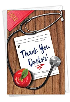 Doctor Gratitude - All Occasion Thank You Card with Envelope  4.63 x 6.75 Inch  - Doctors Visit Appreciation Card from Patient - Life Saved Thanks Stationery Thank-You Notecard C6351TYG