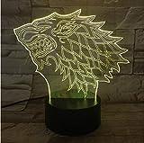 Xiaoaige3D House Stark Wolf Una Canción De Hielo Y Fuego 7 Colores Cambiantes Led Luz De Noche Sueño Dormitorio Decoración Lámpara Hombre Niños Regalo