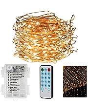 CPROSP ljusslingor, julgranslampor, 20 m 200 LED ljusslingor batteri, varmt vitt, vattentätt, med fjärrkontroll, 4 musicmode + 8 mode, perfekt för hem trädgård sovrum bröllopsfest