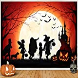 Halloween Tapestry, Skull Tapestry Wall Hanging Haunted Woods with Grave and Pumpkins,Crow Funny Wall Blanket for Bedroom Living Room Dorm Decor,60W X 50H inches (Yellow, 60W x 50H)