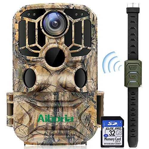 """Aiboria Wildkamera, 20MP 1296P Jagdkamera mit 3 Infrarotsensoren 45-teilige IR-LEDs Nachtsicht 0.4 S Bewegungsaktiviert IP65 Wasserdicht 2.0\"""" LCD 120 ° Überwachungswinkel mit 32 GB Karte"""