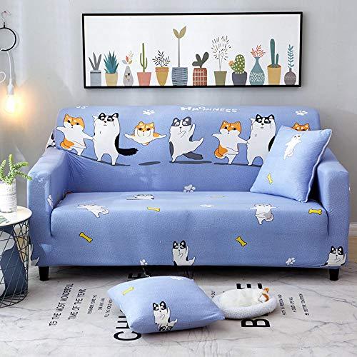 1 Plazas Funda de Sofá,Jacquard Poliéster Funda Sofa ,Perro Azul Elasticas Suaves Resistentes Sofa Antideslizante Cubierta para Sofa Protector