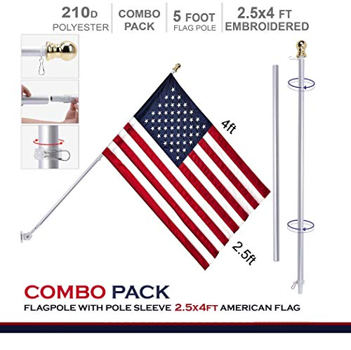 G128 - 5 Feet Tangle Free Spinning Aluminum Flagpole (White) American Flag Pole Sleeve Embroidered 2.5x4 ft American Flag Pole Sleeve (Flag Included) Flag Pole