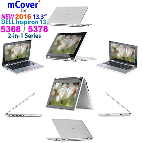 mCover iPearl Hard Shell Case for 2016 13.3' Dell Inspiron 13 5368/5378 2-in-1 Convertible (NOT Compatible with Other Dell Inspiron 5000 Series Models) Laptop (Clear)
