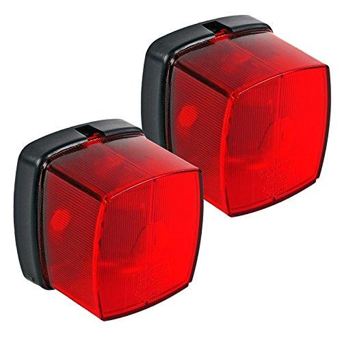 Lot de 2 feux de position rouges avec matériel de fixation pour caravane et remorque.