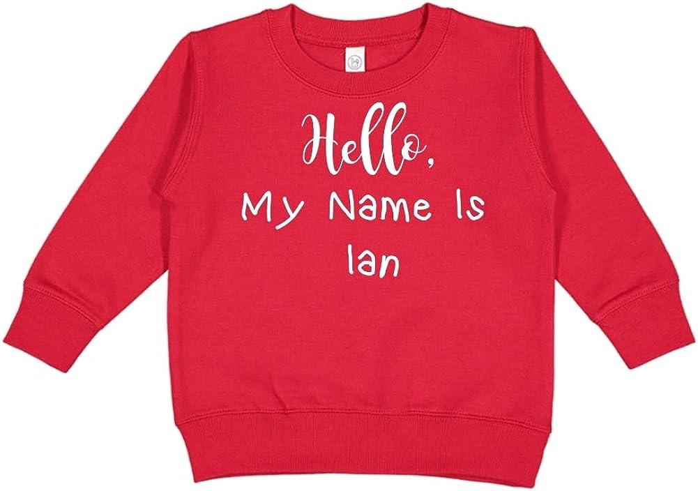 Personalized Name Toddler//Kids Sweatshirt Mashed Clothing Hello My Name is Ian