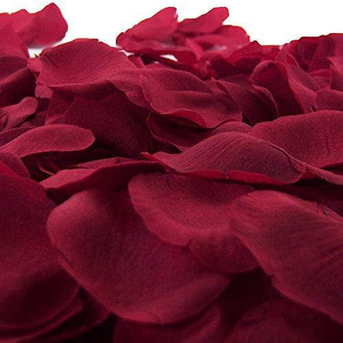 LEFV™ 1000pcs Silk Rose Petals Artificial Flower Wedding Party Vase Decor Bridal Shower Favor Centerpieces Confetti Decorations (40 Colors for Choice)- Dark Red