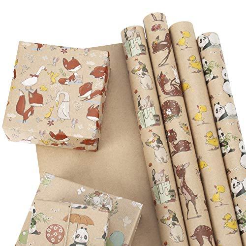 RUSPEPA Hoja De Papel Kraft Para Envolver - Bulldog Francés/Conejo/Zorro/Panda/Ciervo Sika/Pato Impreso Para Baby Shower - 6 Hojas Empaquetadas Como 1 Rollo - 44,5 X 76 cm Por Hoja