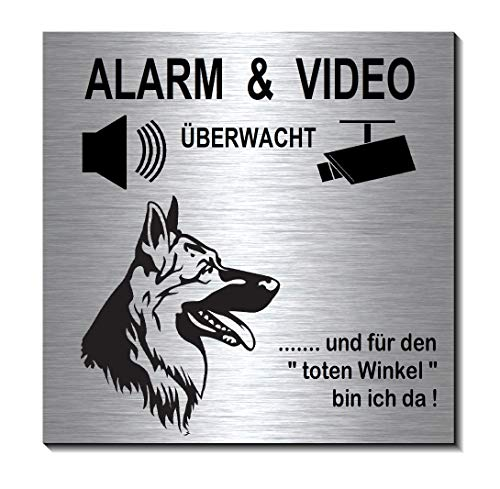 Schäferhund-Alarm-Video-Überwachung-Hund-10 x 10 cm-Schild-Hundeschild-Alu. Edelstahloptik-Hunde-Tierschild-Warnschild-Hinweisschild 1910-97