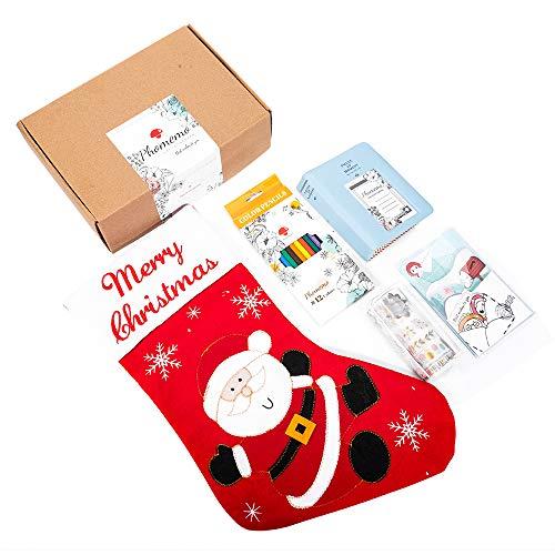Phomemo Christmas Decorations Creative Gift Packs, con Calcetín Navideño, Tarjeta de Regalo, Pegatinas de Patrón, Lápiz de Colores, Luces Decorativas, álbum de Fotos, para Niños, Amigos, Familias