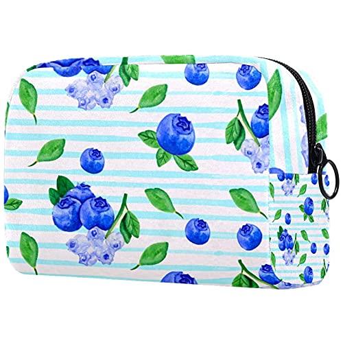 Trousse de Maquillage pour Femmes, Sac de Rangement cosmétique Aquarelle Blueberry Fruits Stripes de Fleurs pour Les Voyages, Organisateur de cosmétiques