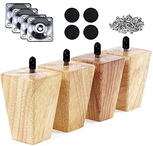 RHUAFET 4 Stück Möbelfüße, 10cm Schräger Holz Möbelbeine, Massivholz Konisch Beine Aus Eiche für Stühle Schrank Sofa Bett Couch, mit Schrauben und Filzgleiter(10CM)