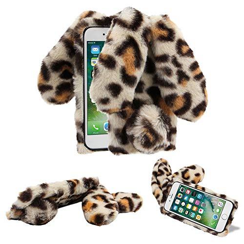 für Samsung Galaxy S9 Plüsch Hülle YiCTe Niedlich Faux Flauschige Hase Ohren Handyhülle Weiche Warm Bunny Pelz Stoßfest TPU Silikon Schutzhülle mit Glitzer Diamant,Leopardenmuster