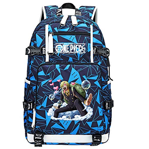 ZZGOO-LL One Piece Monkey·D·Luffy/Vinsmoke Sanji Backpack Casual Rucksack Waterproof Business Travel with USB Unisex-G