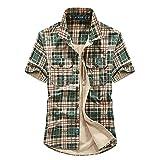 LSSM Camisa A Cuadros Fina De Verano para Hombres Camisa De Herramientas De Uniforme Militar Multibolsillo Casual para Hombres Top Estampado para Cotton Verde 4XL