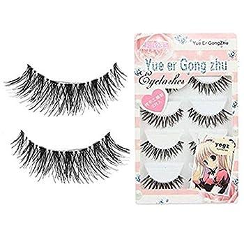 CJESLNA New 5 Pair Thick Crisscross Long False Eyelashes Fake Eye Lashes Voluminous Makeup