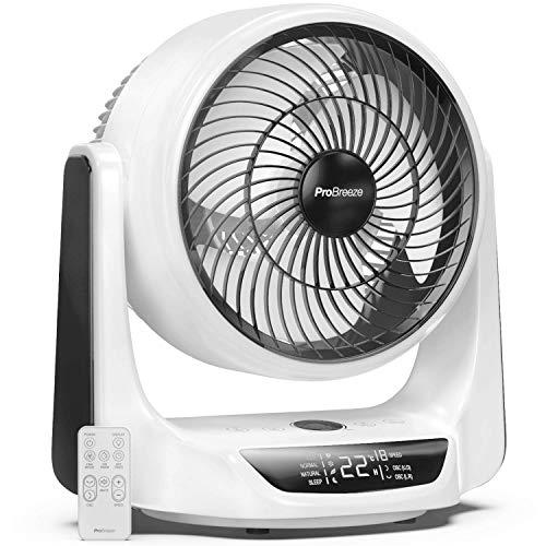 Pro Breeze Ventilador de Mesa Turbo de 25 cm - Ultra silencioso - Oscilación automática, 9 Velocidades de Ventilador, 4 Modos de Operación, Temporizador, Pantalla LED y Control Remoto.