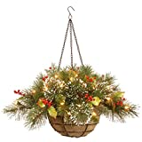 National Tree Company Pre-lit Artificial Christmas Hanging Basket | Flocked with Mixed Decorations and LED Lights | Wintry Pine - 20 Inch