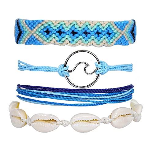 1 pulsera azul concha cera hilo algodón tejido 4 piezas conjunto constelación moda