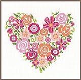 Vervaco–Kit de Punto de Cruz Flor corazón, Cruz Cruz, algodón, Multicolor, 18x 17x 0,3cm