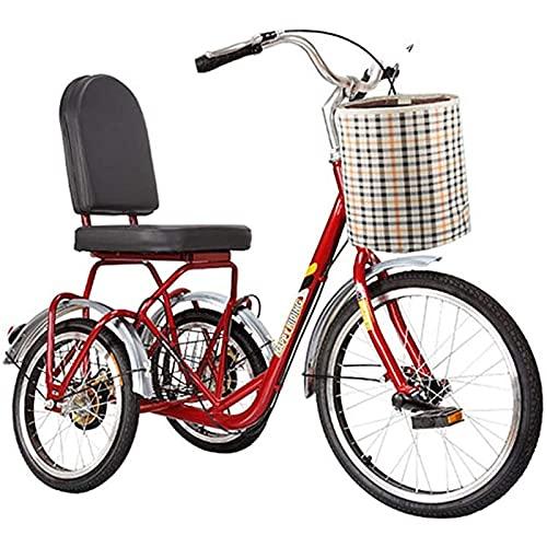 T-Day Triciclo per Adulti Tricycle per Adulti con Cestello 3 Ruote Bikes Adult Seniors An Seniors Cruiser Bici Biciclette A Tre Ruote per Anziani con Carrello Esercizio Donne da Uomo, Rosso