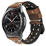 iBazal Correas Galaxy Watch 46mm Cuero 22mm Bandas Piel Pulseras Compatible con Samsung Galaxy Watch 3 45mm/Gear S3 Frontier Classic Reemplazo para Huawei Watch 2 Classic/GT 46mm,Ticwatch Pro - Café