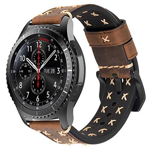 iBazal Correas Galaxy Watch 46mm Cuero 22mm Bandas Piel Pulseras Compatible con Samsung Galaxy Watch 3 45mm/Gear S3 Frontier Classic Reemplazo para Huawei Watch 2 Classic/GT 46mm,Ticwatch Pro - Café