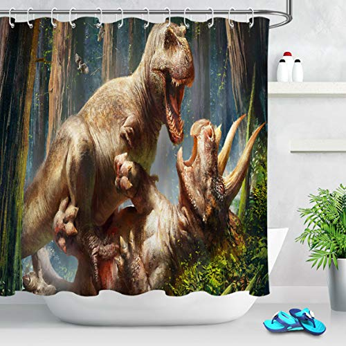 Lumengqi Dinosaur Battle Giant Beast Forest Tenda da Doccia Impermeabile Decorativa con Stampa HD, Adatta per Il Bagno, 12 Ganci gratuiti, 180X180 cm