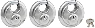 """Master Lock 40TRI Shrouded Stainless Steel Disk Padlock with 2-3/4"""" Wide Body (Pack of 3)"""