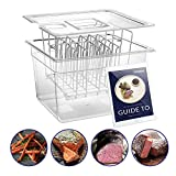 Sous Vide Container with Stainless Steel Rack and Lid Set -Family 12 Qt Cooker Accessories and Adjustable No-Float Top Bar for Anova, Nano, Joule and Most Circulators