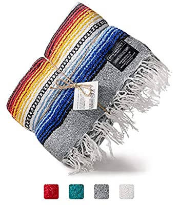 Benevolence LA Premium Falsa Mexican Blanket - Authentic Woven Mexican Blankets in Royal Ultramarine Ideal as a Picnic Blanket, Beach Blanket and Yoga Blanket