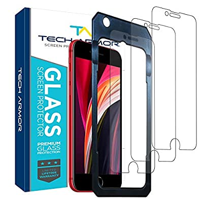 Tech Armor Premium Ballistic Tempered Glass Screen Protector for Apple iPhone SE 2020, iPhone 8 and iPhone 7 - with 99.99% HD Clarity and 3D Touch Accuracy, Clear [3 Pack] by Tech Armor