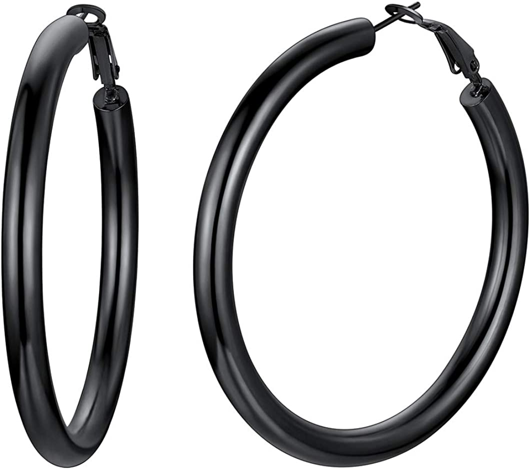 Richsteel Minimalist Hoop Earrings for Women Fits Sensitive Ears 30/40/60/80mm Hoops Stainless Steel/18K Gold Plated Fashion Jewelry(with Gift Box)