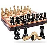 Juego de ajedrez Ajedrez Traje de gama alta Extra grande Madera maciza Tablero de ajedrez plegable Piezas de ajedrez de metal Decoración del hogar Backgammon y ajedrez Se (Ejercicio de pensamiento int