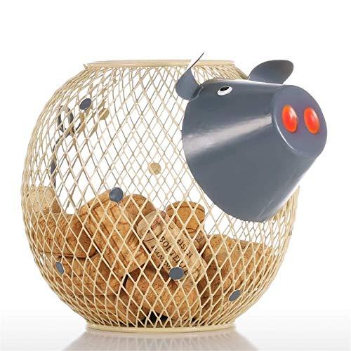 Cubo de basura encantador vino alcancía corcho contenedor decoración del hogar escultura de metal animal artesanía regalo para cocina, baño, dormitorio, sala de estar oficina
