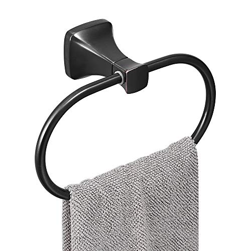 BESy Bathroom Hardware Accessory Hand Towel Ring,Oil Rubbed Bronze Stainless Steel Hand Towel Holder, Wall Mounted with Screws, Square Pedestal