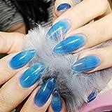 FstrendFstrend - 24 uñas postizas brillantes de color rosa jalea con cubierta completa acrílica para mujeres y niñas, azul (Jelly Blue), 1.00[set de ]
