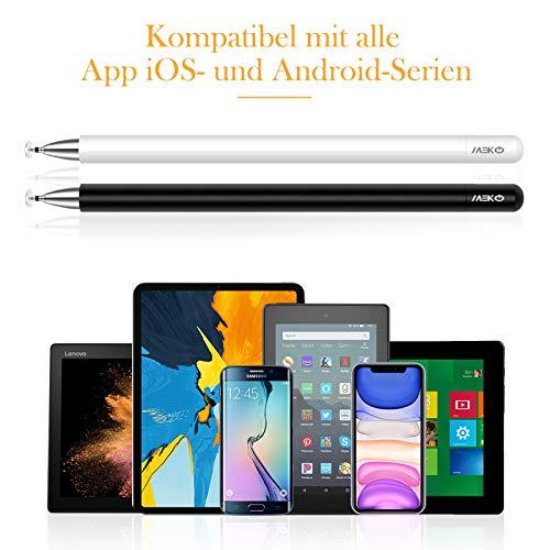 MEKO 2 Stücke Eingabestift Disc Touch Pen, 2 in 1 Stylus Pen universal Touchstift 100% kompatibel mit Allen Tablets Touchscreen iPhone iPad Surface Huawei usw, magnetische Kappe (weiß+schwarz)