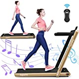 GYMAX 2 in 1 Under Desk Treadmill, 2.25HP Folding Walking Jogging Machine with Dual Display, Bluetooth Speaker & Remote Controller, Electric Motorized Treadmill for Home/Gym (Gold)