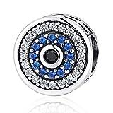 Abalorio de cristal azul para pulseras Pandora, plata de ley 925, con piedra de nacimiento de la suerte, compatible con pulseras de cadena de serpiente europeas, Cristal,