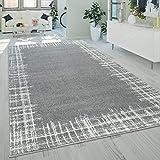 Alfombra salón pelo corto moderna aspecto usado ribetes diseño abstracto gris, tamaño:200x280 cm