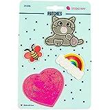 Stoffe Werning Applikationen Patches Katze Herz Regenbogen