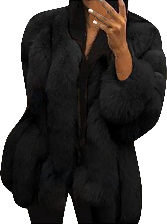 Womens Winter Warm Faux Fur Shaggy Boyfriend Coats Fuzzy Fluffy Outwear Jackets Tops Open Front Cardigan Jackets