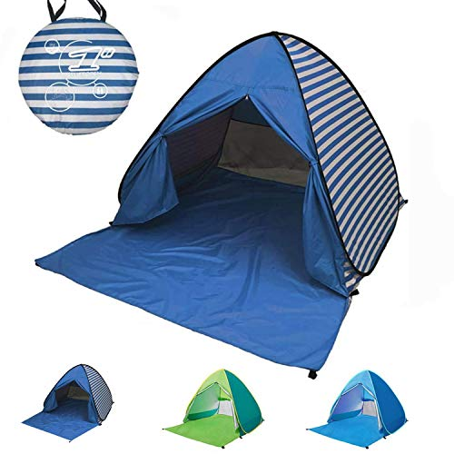 ポップアップテント テント ワンタッチテント 簡易テント ワンタッチ 1人用 サンシェードテント 2-3人用 軽量 屋内 用 テント 運動会 テント 通気性抜群 アウトドアビーチテント ワンポールテント UVカット 防災 キャンプ用品(ブルーストリップ)