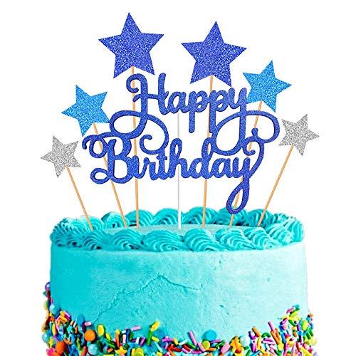 Decorazione per Torta, Blu Happy Birthday Cake Topper per Ragazze Ragazzi Donne Uomo Decorazione per Torte Compleanno, Stella d'argento Cupcake Toppers per Bambini Compleanno Feste Glitter Forniture