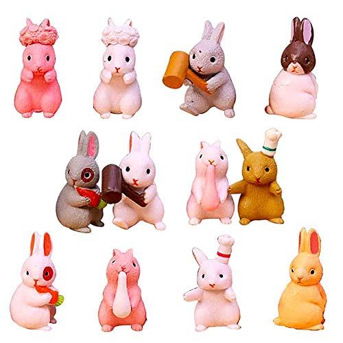 12Pcs Animales en Miniatura Conejo Estatuilla Estatua, BKJJ Mini Conejo Estatuilla Jardín, Mini Conejo Estatuilla Modelo, Micro Bonsai Estatua Favores de Fiesta Pascua para Niños Niños Pequeños